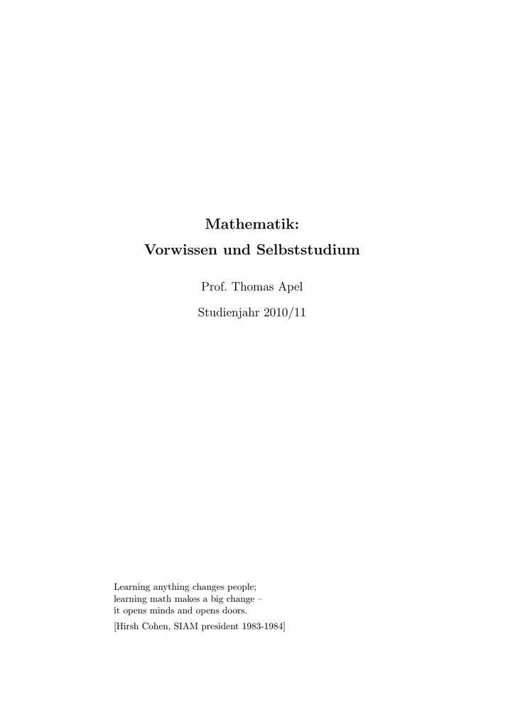 Mathematik - Vorwissen und Selbststudium von Prof. Dr. Apel