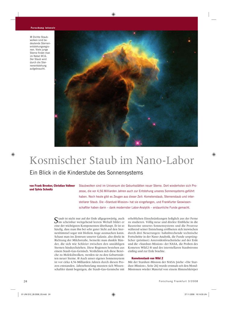 Kosmischer Staub im Nano-Labor - Forschung Frankfurt