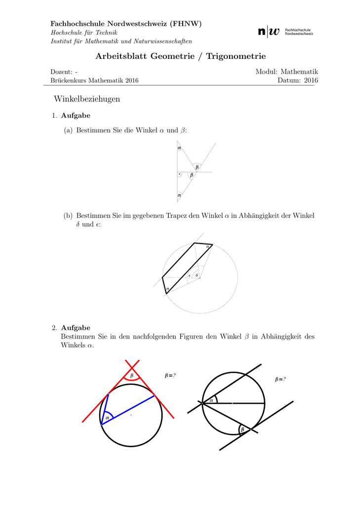 Arbeitsblatt Geometrie / Trigonometrie Winkelbeziehugen