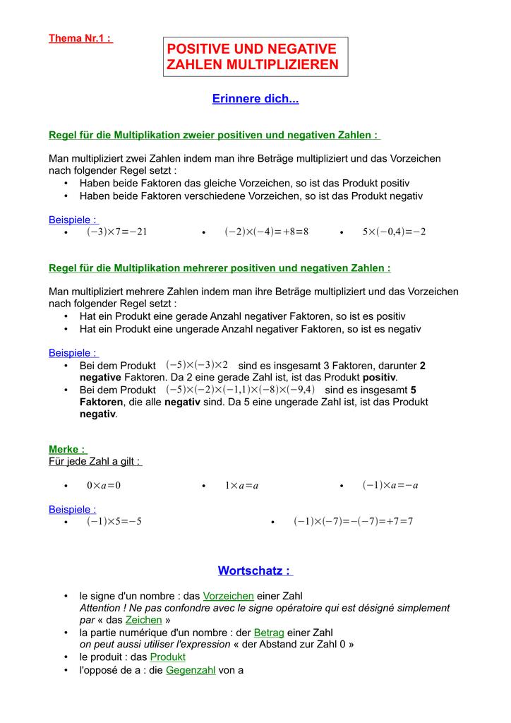 Colorful Multiplizieren Und Dividieren Ganze Zahlen Einer Tabelle ...