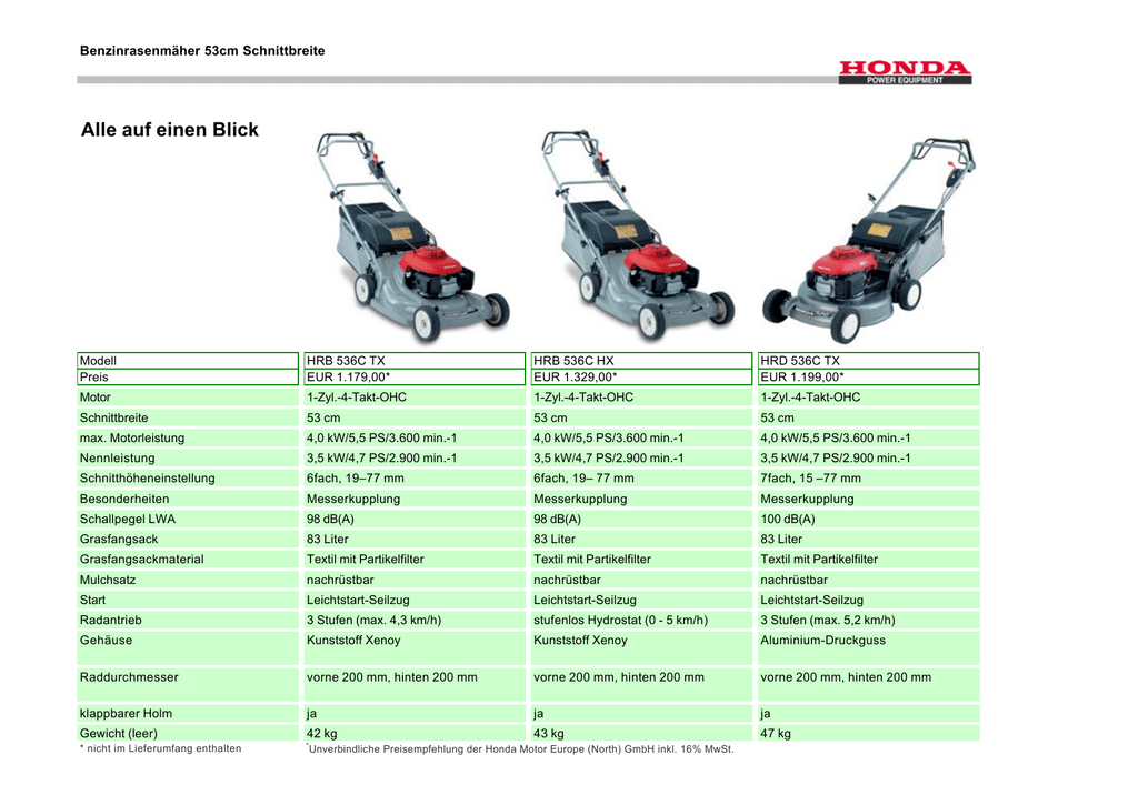 Honda HRD 536K HX Benzin-Rasenm/äher mit Radantrieb