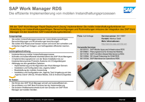 SAP Work Manager RDS - SAP Service Marketplace