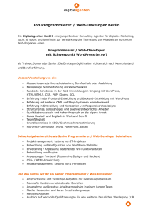 Job Programmierer / WebDeveloper Berlin
