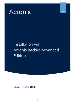 Installation von Acronis Backup Advanced Edition