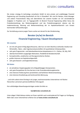 Berater (m/w) im Bereich Financial Engineering / Quant Development
