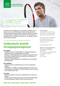 Fachberater/in Analytik Versorgungsmanagement