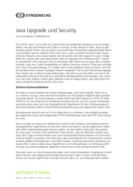 Java Upgrade und Security