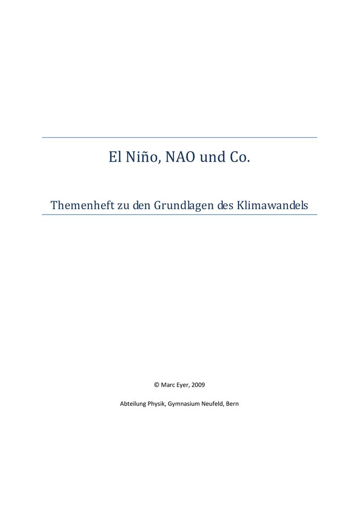 Arbeitsblatt D El Nino NAO und Co.