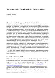 Das interpretative Paradigma in der Onlineforschung