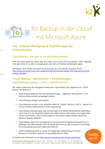 Ihr Backup in der Cloud - mit Microsoft Azure