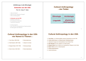 Cultural Anthropology in den USA - Ethnologie