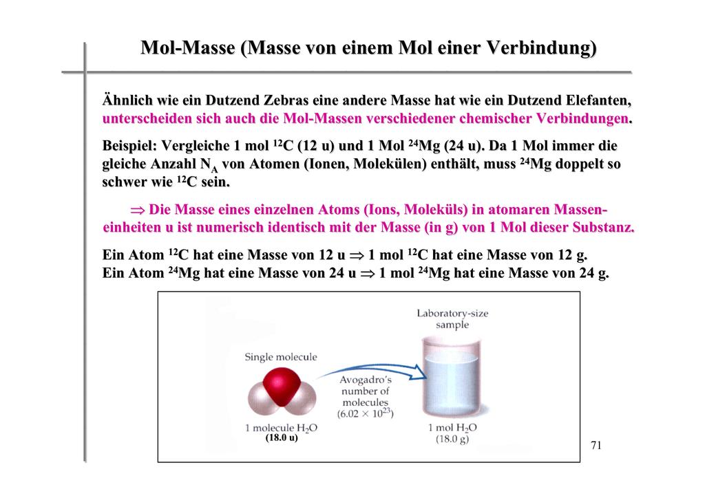 Mol Masse Masse Von Einem Mol Einer Verbindung