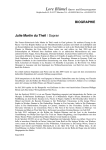 BIOGRAPHIE Julie Martin du Theil / Sopran