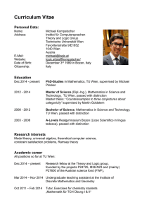 Curriculum Vitae - Theory and Logic Group