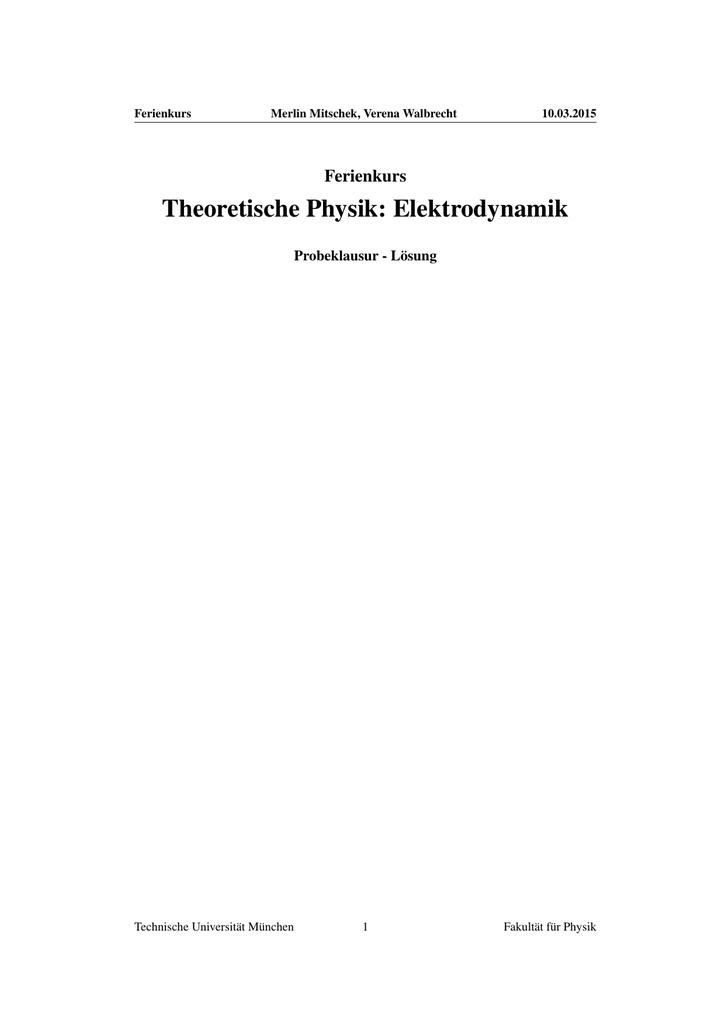theoretische physik elektrodynamik