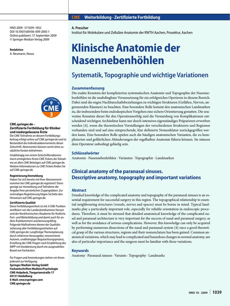 Klinische Anatomie der Nasennebenhöhlen - RWTH