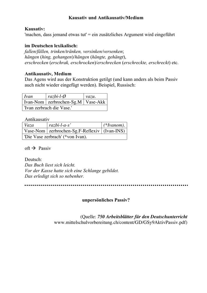 Kausativ und Antikausativ/Medium Kausativ