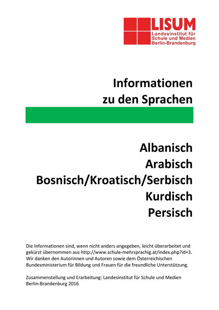 Informationen Zu Den Sprachen Albanisch Arabisch Bosnisch