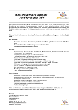 (Senior) Software Engineer – Java/JavaScript (m/w)