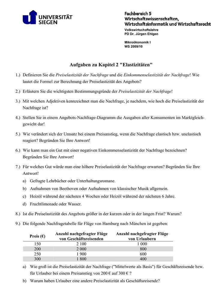 Aufgaben Zu Kapitel 2 Elastizitäten