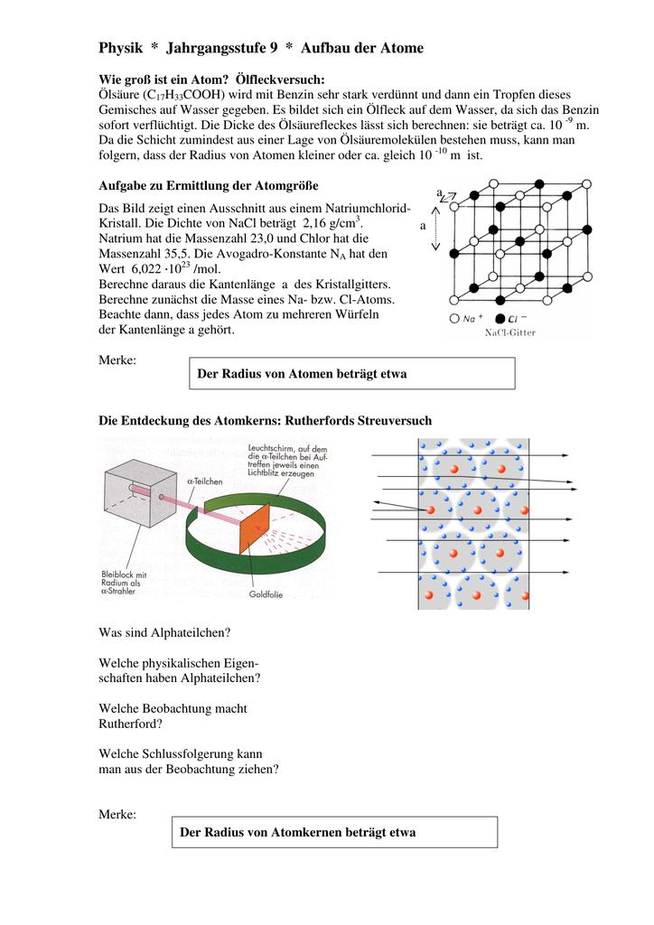 Physik * Jahrgangsstufe 9 * Aufbau der Atome