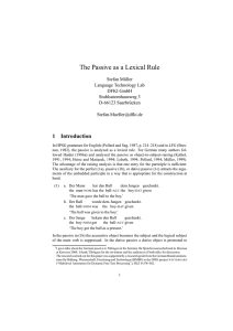 The Passive as a Lexical Rule - German Grammar Group FU Berlin