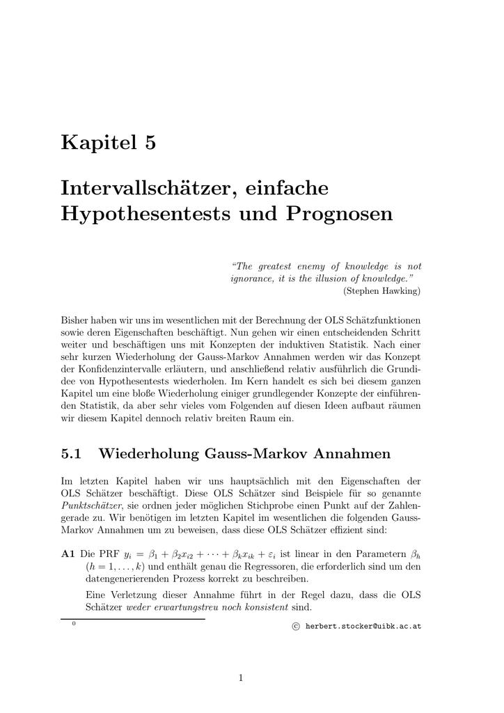 Kapitel 5 Intervallschätzer, einfache Hypothesentests und Prognosen