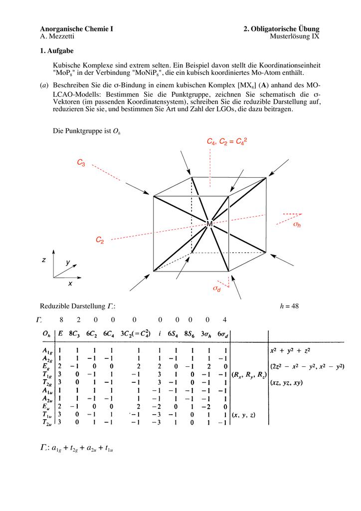 Anorganische Chemie I 2. Obligatorische Übung A. Mezzetti