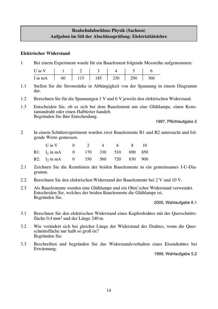 14 Realschulabschluss Physik (Sachsen) Aufgaben im Stil der