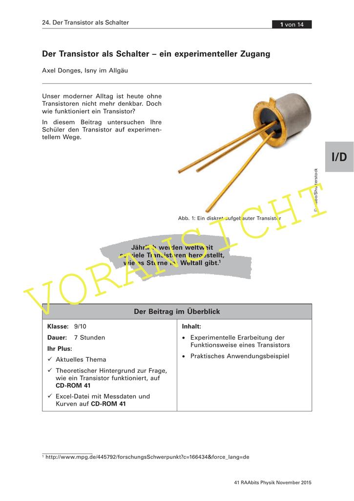 Der Transistor als Schalter – ein experimenteller Zugang
