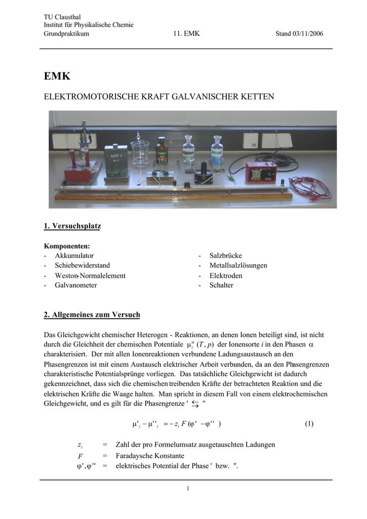 Elektromotorische Kraft (EMK) - Institut für Physikalische Chemie