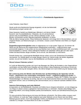 Patienteninformation – Festsitzende Apparaturen