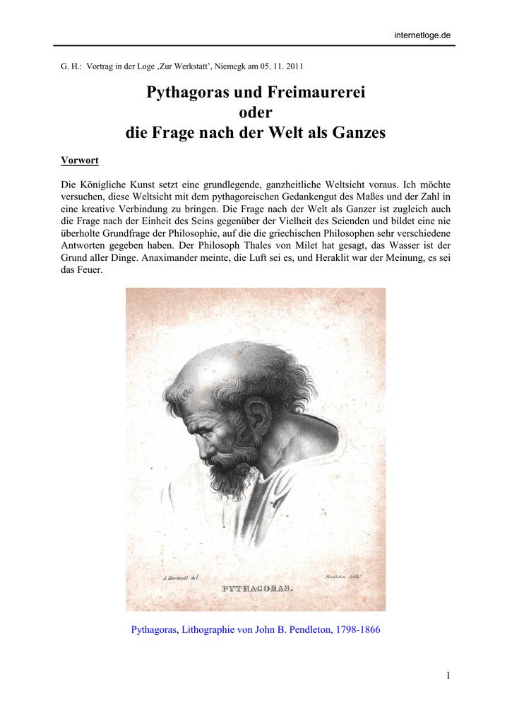 Pythagoras und Freimaurerei oder die Frage nach der
