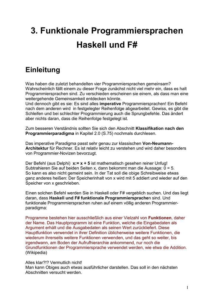 Funktionale Programmierung mit Haskell und F#
