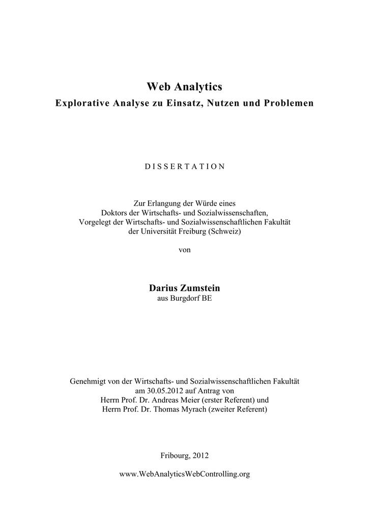 Web Analytics: Explorative Analyse zu Einsatz, Nutzen