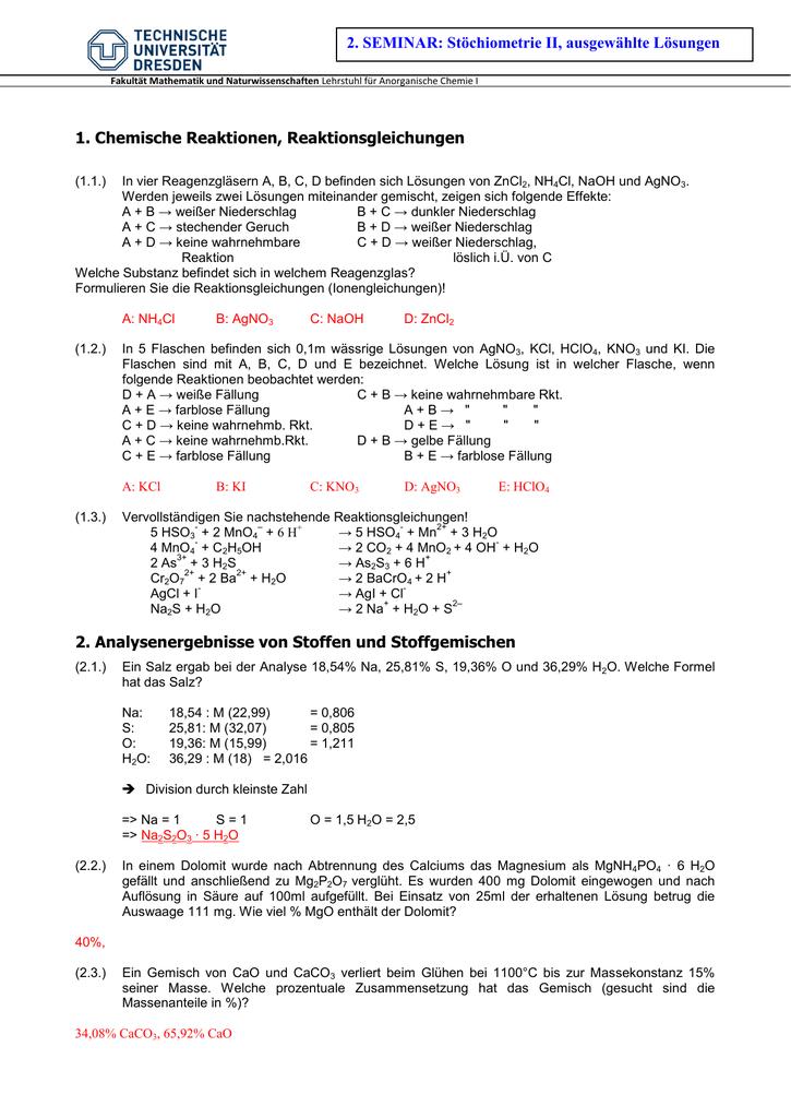 Lösungen Fachrichtung Chemie Tu Dresden