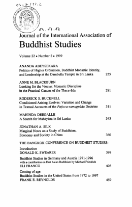 Buddhist Studies in Germany and Austria 1971