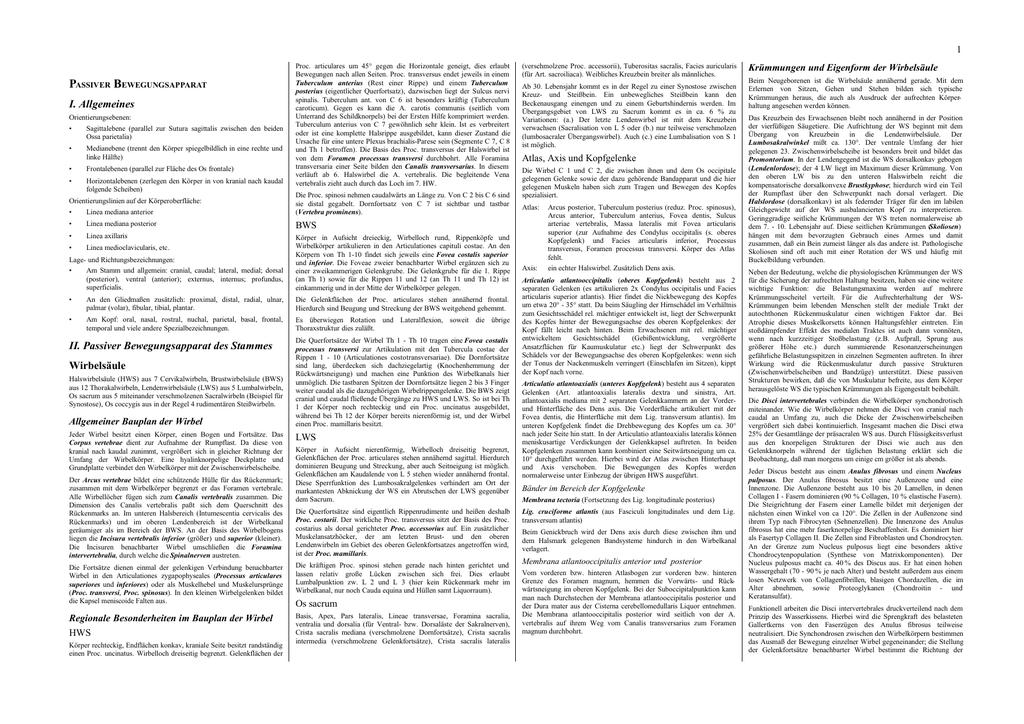 Anatomie Skript (alles auf 27 Seiten, Schriftgröße 6)