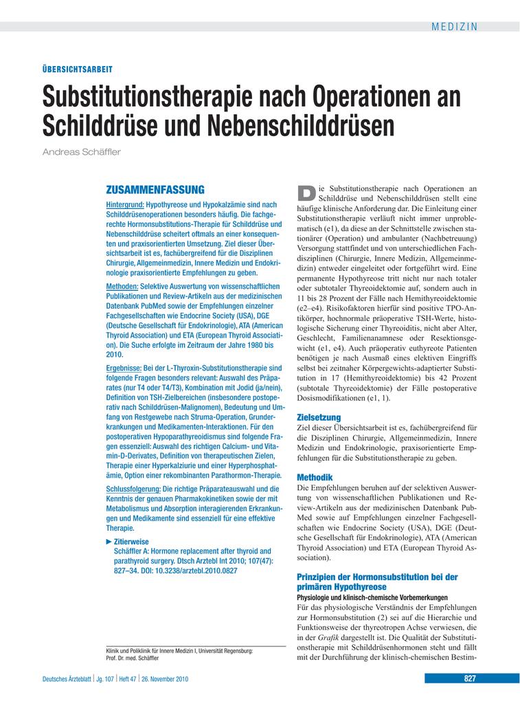 Substitutionstherapie nach Operationen an Schilddrüse