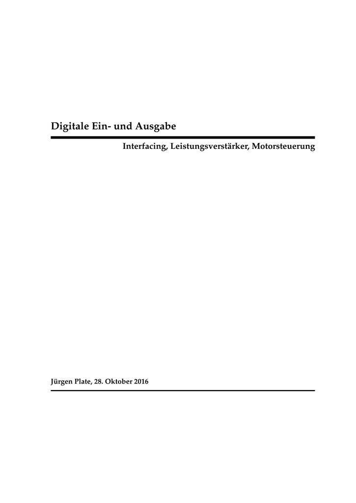 Digitale Ein- und Ausgabe
