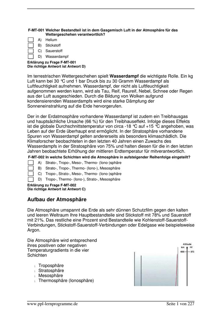 PPL-C Fragen Metereologie