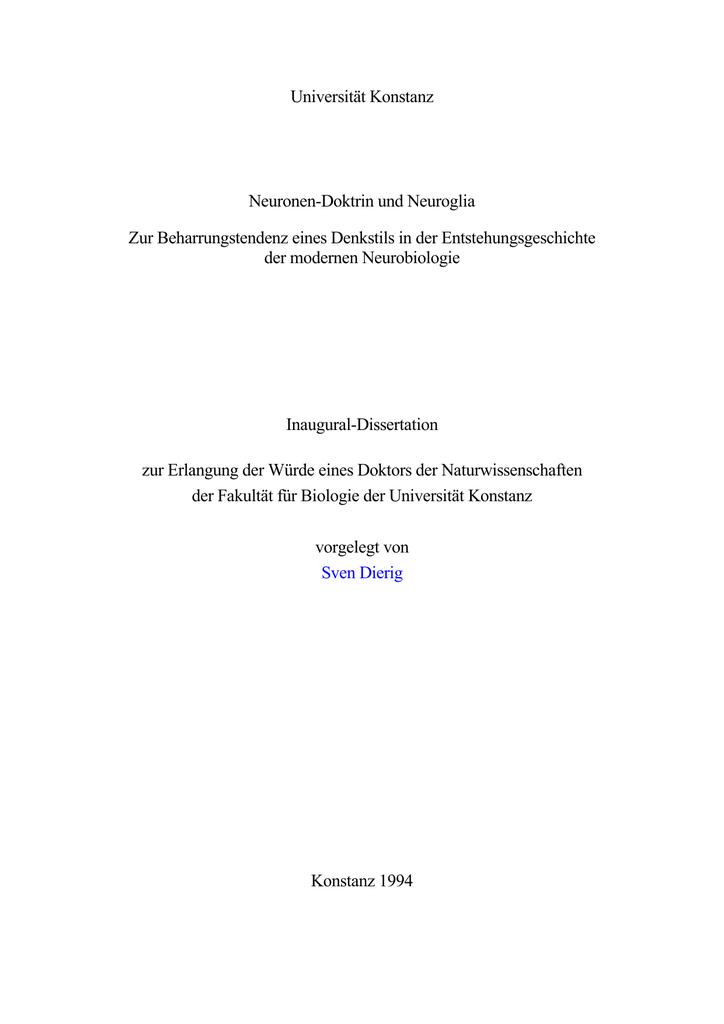 Universität Konstanz Neuronen-Doktrin und Neuroglia Zur