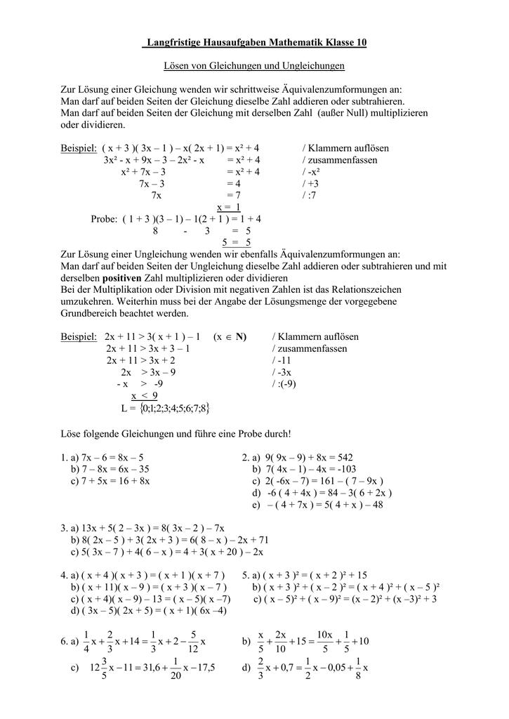 Lösen Von Gleichungen Und Ungleichungen