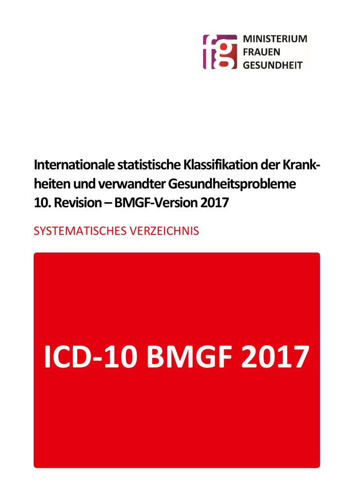 icd-10 bmgf 2017 - systematisches verzeichnis sp1
