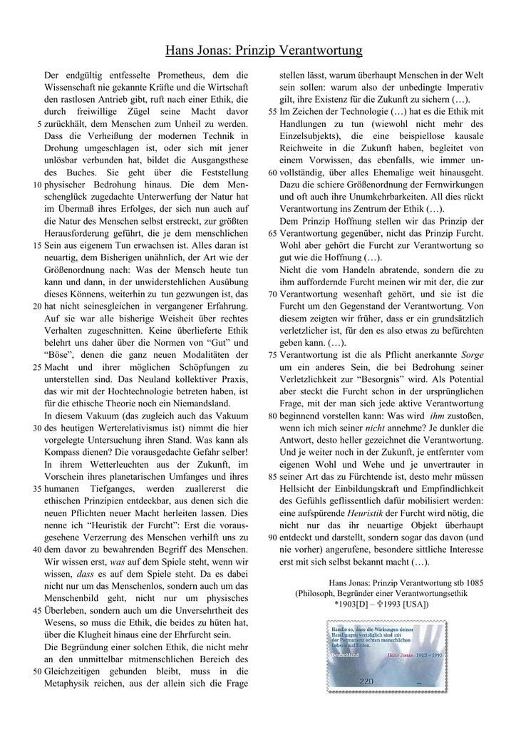 Hans Jonas Prinzip Verantwortung