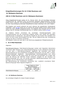 EB A1 E-Mail Business und A1 Webspace Business