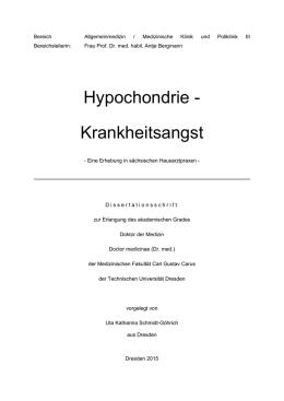 schwere hypochondrische störung