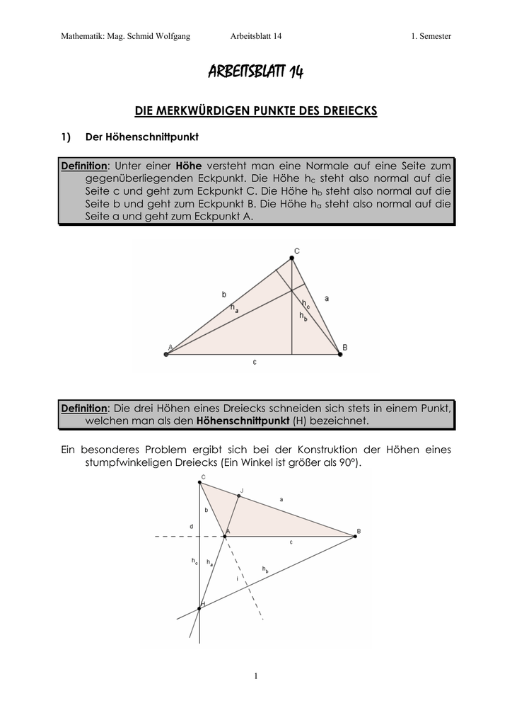 höhen in einem dreieck