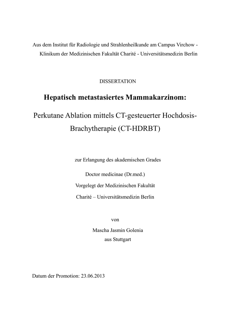 Hepatisch metastasiertes Mammakarzinom