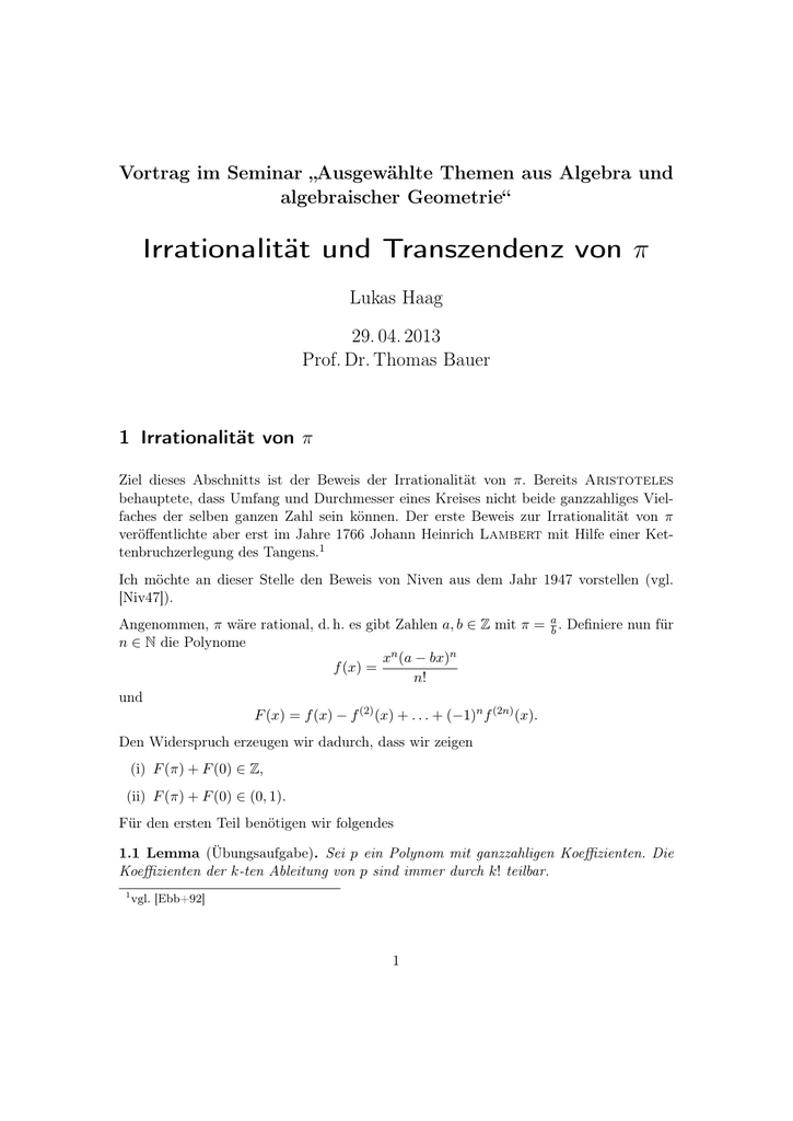 pi irrational beweis